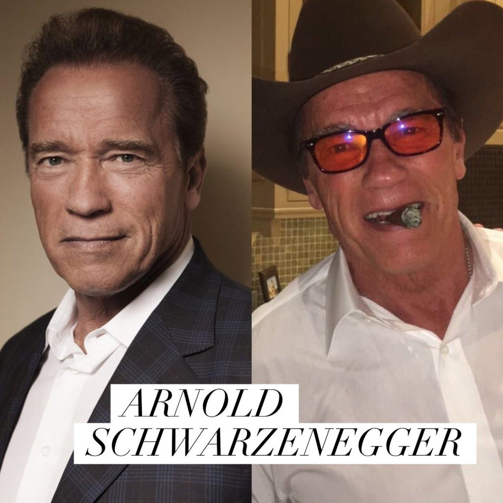 Arnold Schwarzenegger in blue blocking eyeglasses